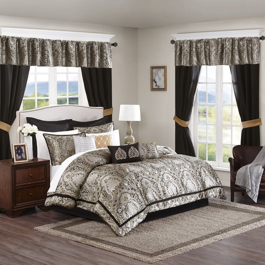 Madison Park Black Gold Luxurious 24 Piece Bedding Comforter Set Free Shipping