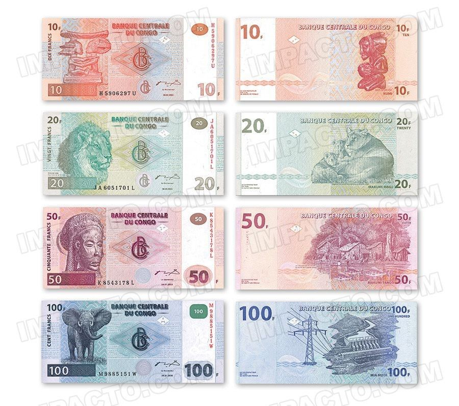 CONGO DEMOCRATIC REPUBLIC, set of 4 banknotes