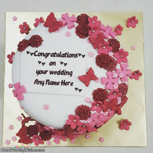 Congratulations On Your Wedding Cakes With Name Wedding Cakes With