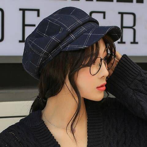 1bc5692aa3f9e Plaid newsboy cap for women casual wool baker boy cap winter wear ...