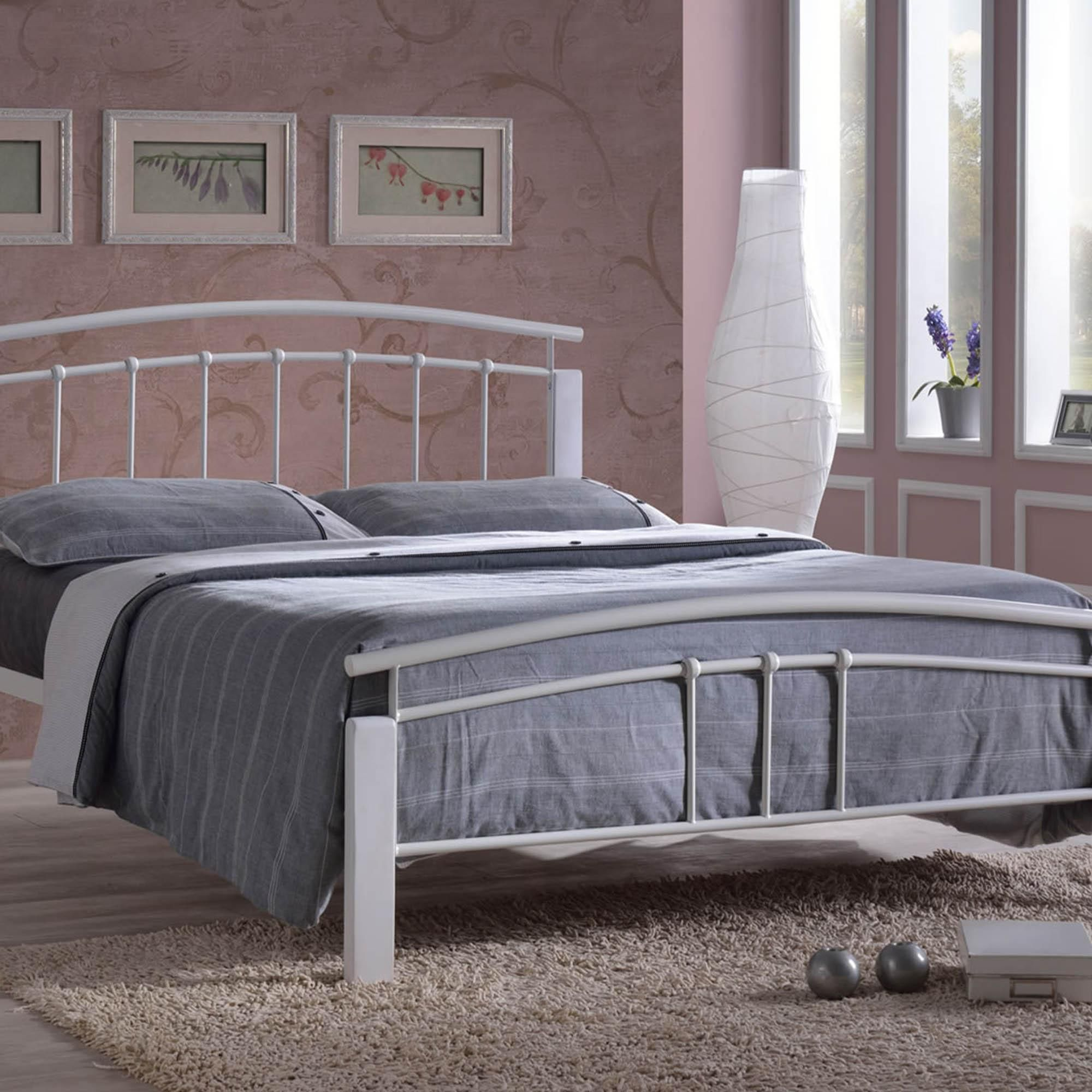 Tetras Silver and White Bedstead White metal bed, White