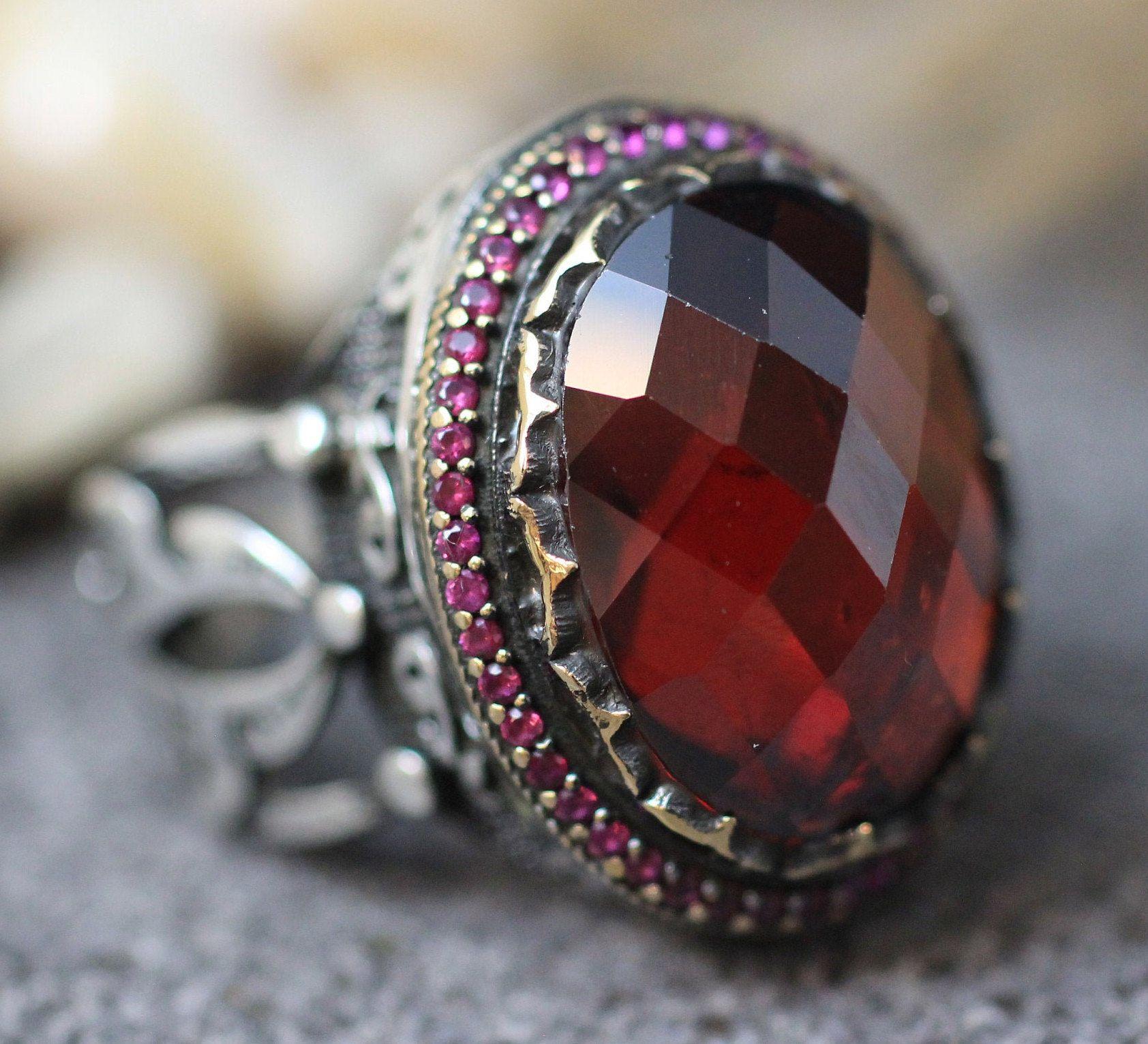 Ottoman Silver 925 Mens Ring Ruby Mens Ring Valentines Day Silver Mens Ottoman Ring Gift for Him Mens Handmade Ruby Ring