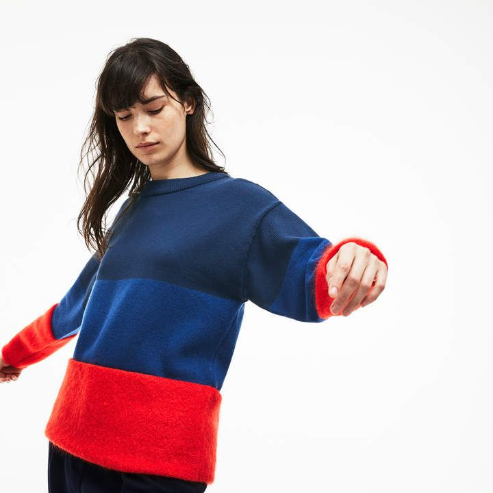 2ed6482a60 Women's Crew Neck Colorblock Cotton, Mohair And Wool Jersey Sweater ...