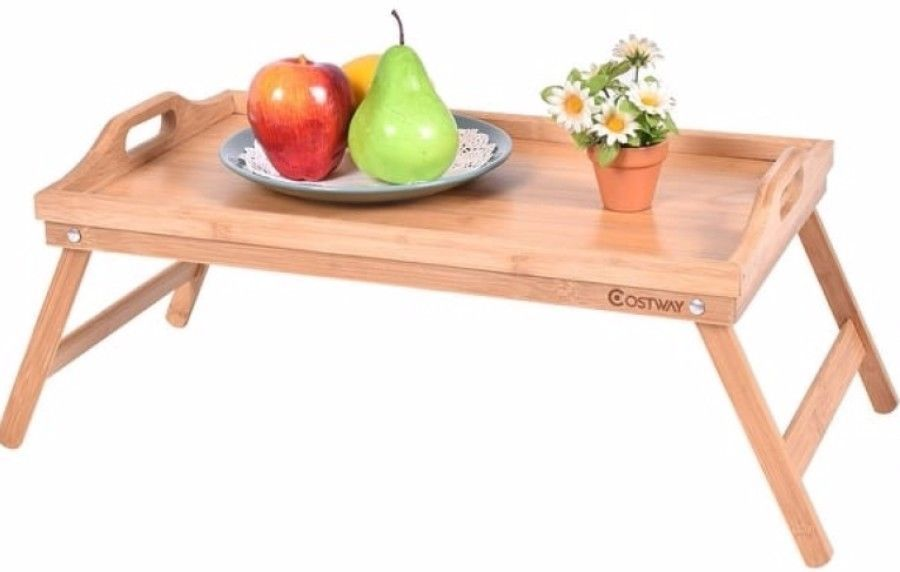 Portable Bamboo Breakfast Bed Tray Serving Laptop Table Foldable Legs Food Lap Bedtray Bed Tray White Serving Tray Serving Trays With Handles
