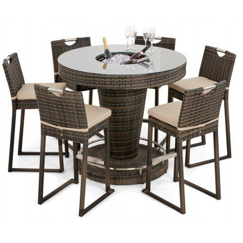 san diego rattan garden furniture brown 6 seat garden bar set with ice bucket