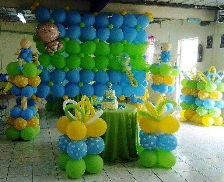 Blue yellow and green balloonsdecoration idea for a baby