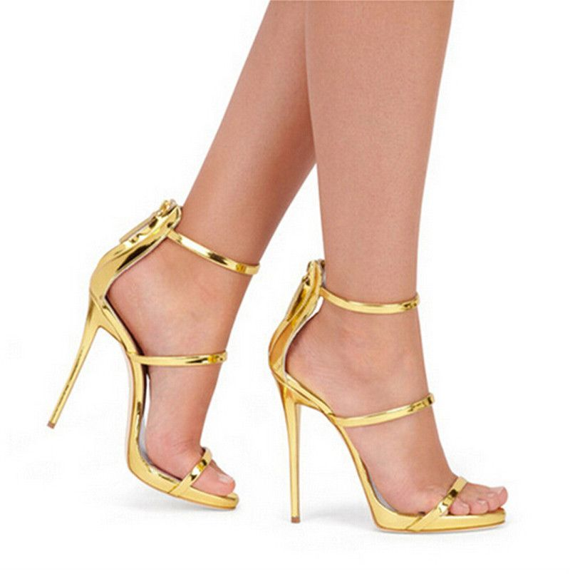 5b4b13e21a27 Harmony Metallic Strappy Sandals Silver Gold Platform Gladiator Sandals  Women High Heels Shoes Summer style Free shipping