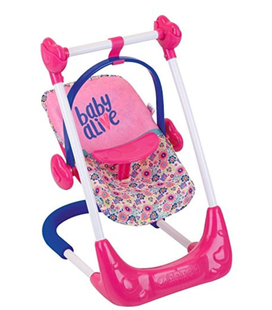 Baby Alive 3 In 1 Doll Play Set Swing Highchair And Car Seat