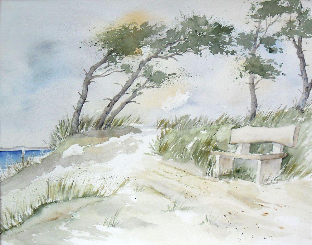 Ruhepause Aquarell 24 X 32 Cm Landschaft Meer Windfluchter