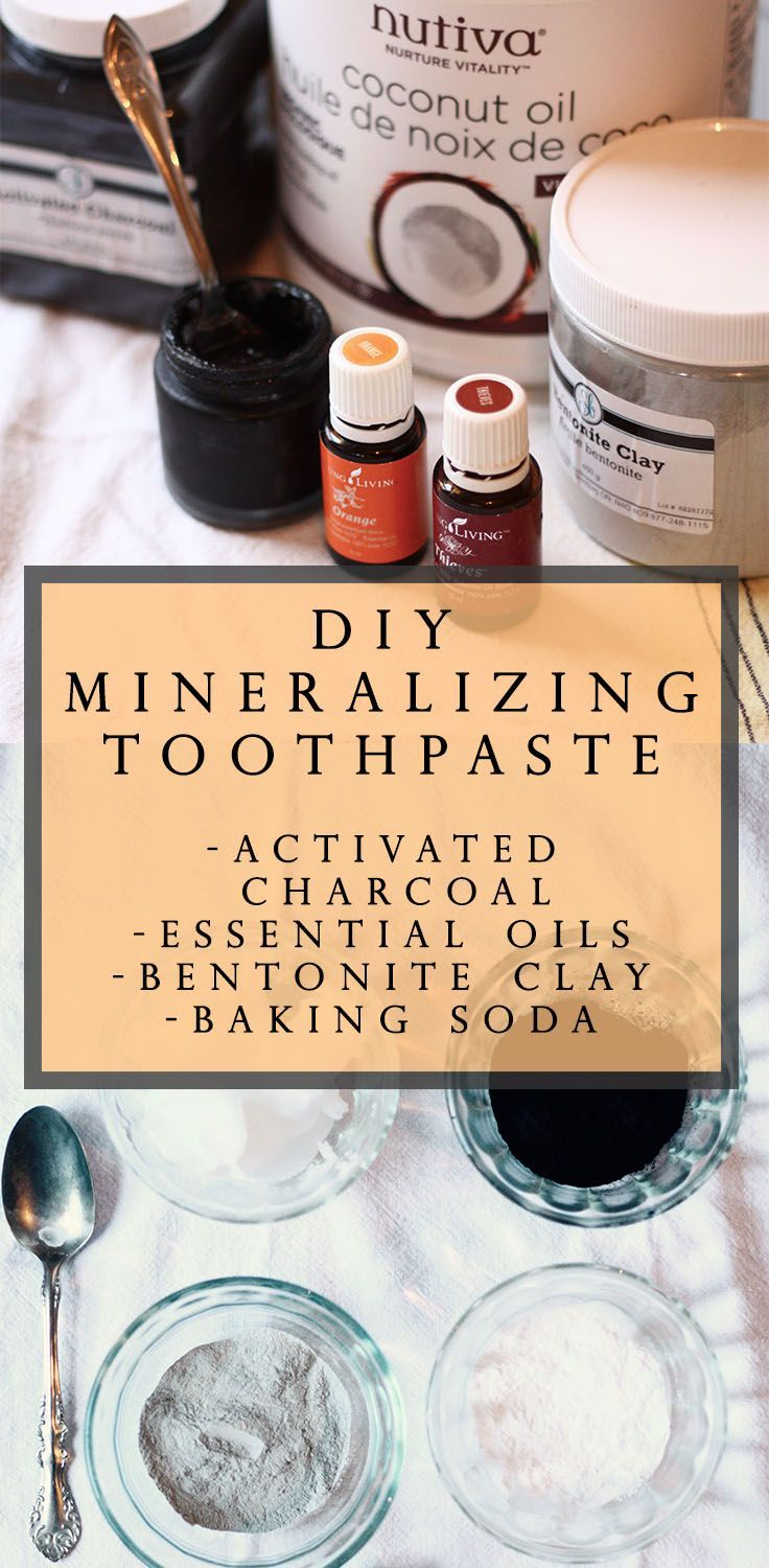 DIY re-mineralizing toothpaste recipe! With activated charcoal, essential oils, bentonite clay, and baking soda. Click through to read more, or pin to save ...