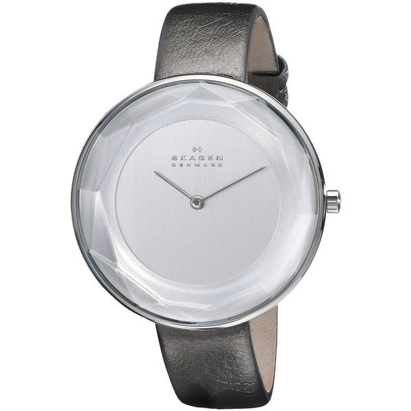 Skagen Women's SKW2274 Gitte Faceted Stainless Steel Watch with... ($135) ❤ liked on Polyvore featuring jewelry, watches, skagen watches, leather band watches, facet jewelry, stainless steel watches and skagen wrist watch