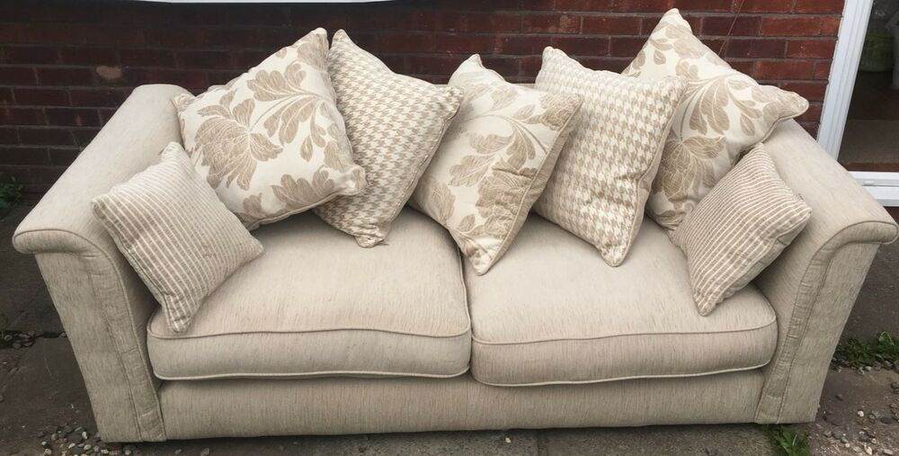 Beautiful Ex Display 3 Seater Fabric Cream Sofa With 7 Scatter Cushions Can Deliver If Local To Sk8 Ebay Scatter Cushions Seater Sofa 3 Seater Sofa