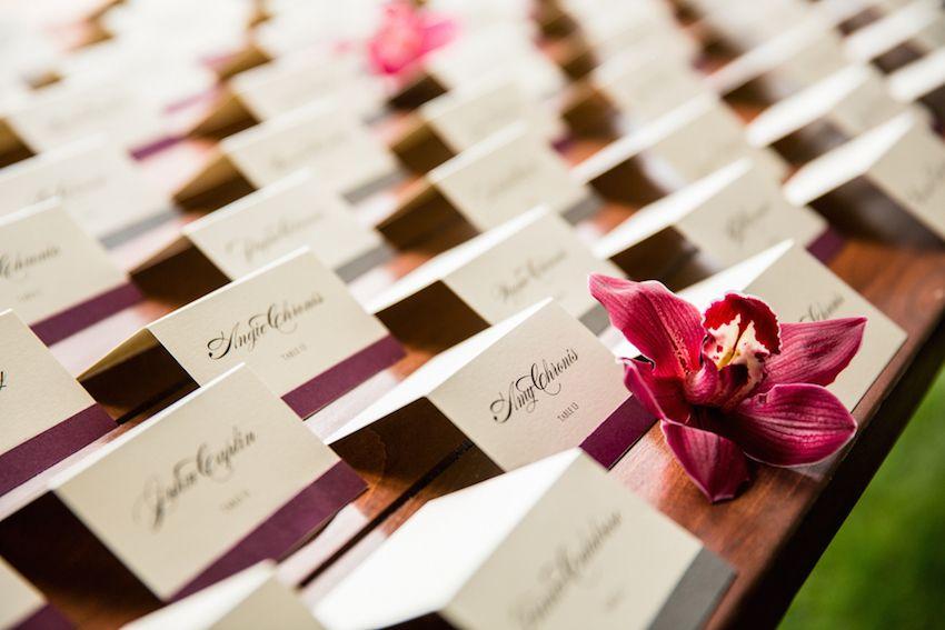 Purple Ribbon Escort Cards | Photography: Jared Platt Photography. Read More: http://www.insideweddings.com/weddings/classic-arizona-wedding-of-denver-broncos-nfl-player-brock-osweiler/701/