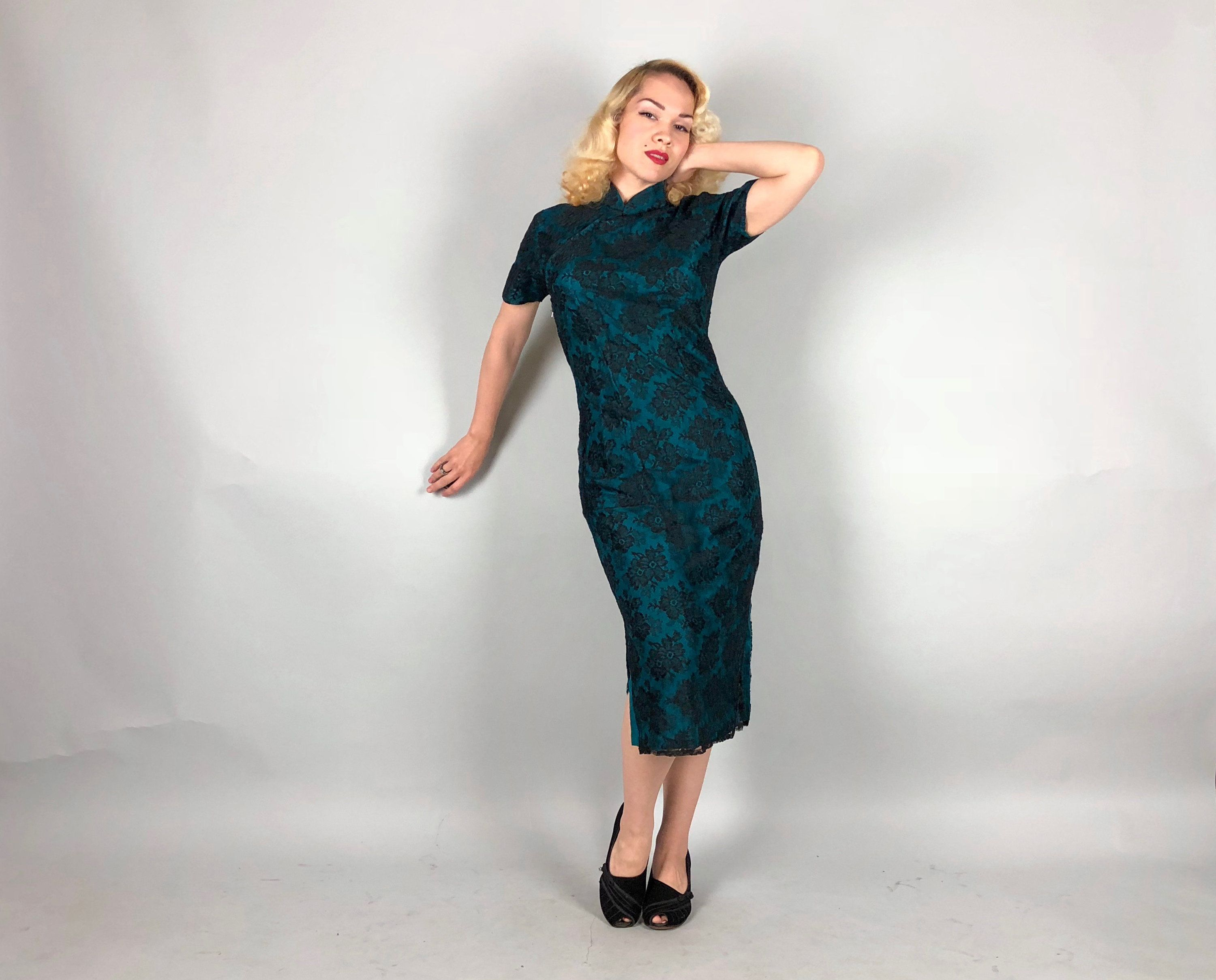Vintage 1950s Dress | 50s Peacock Green Silk and Black Floral Lace ...
