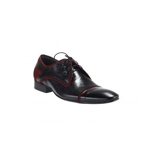 Pánska obuv čierno-červenej farby z kvalitnej kože so semišom vhodné na rôzne spoločenské udalosti - fashionday.eu