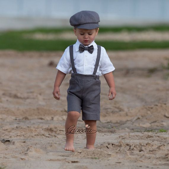 Ring bearer newsboy outfit Baby boy gray linen suit Wedding boy formal outfits Shorts Suspenders Newsboy hat Boy baptism clothes photo prop