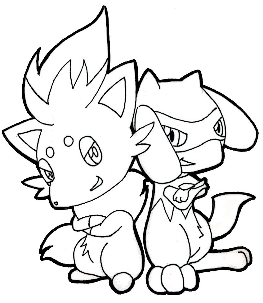 Zorua And Riolu 1 By Methuselah Alchemist On Deviantart Pokemon Coloring Pages Pokemon Pokemon Coloring
