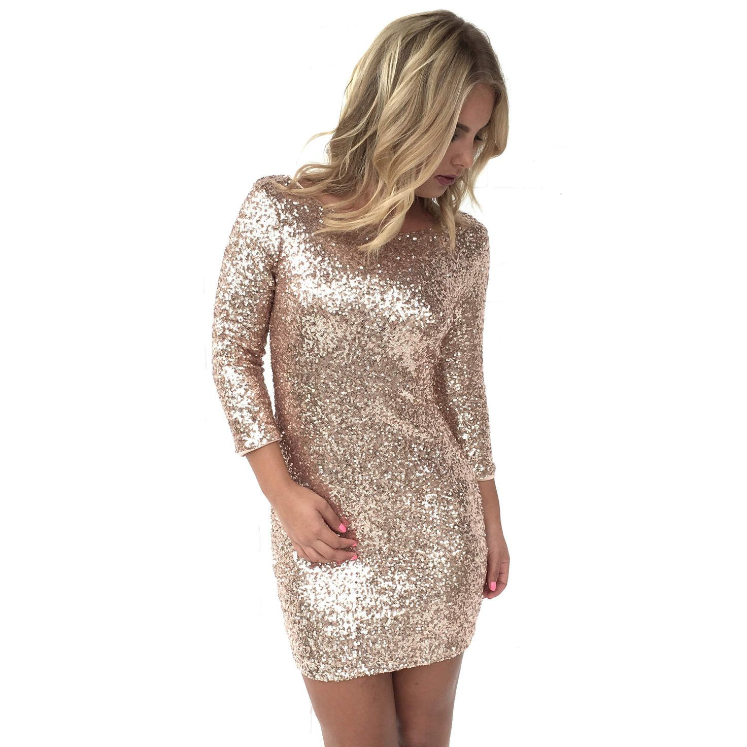 Rooftop sequin bodycon dress in rose gold my style pinterest