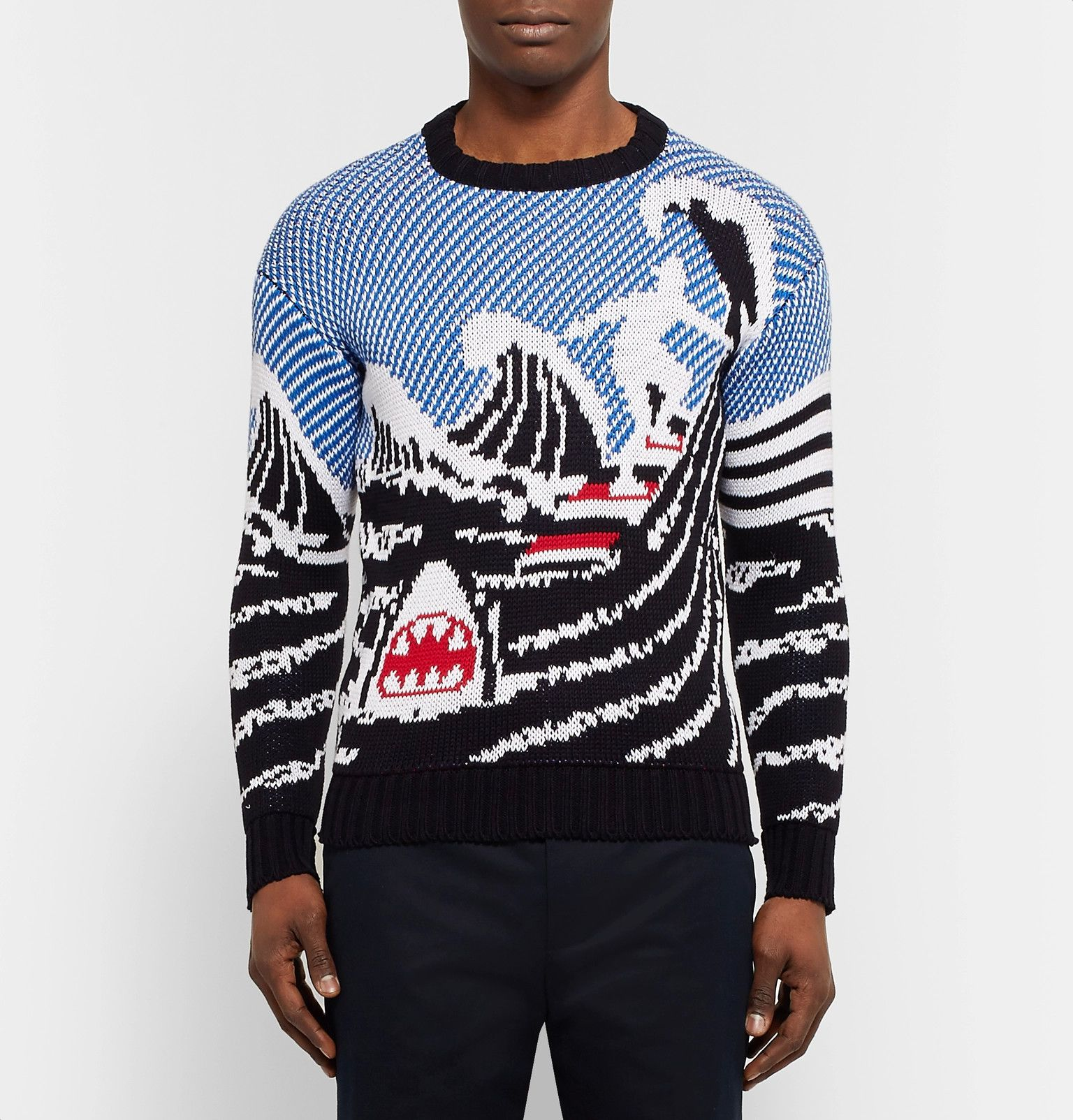 THOM BROWNE Jacquard-Knit Cotton Sweater | Men's Spring-Summer ...