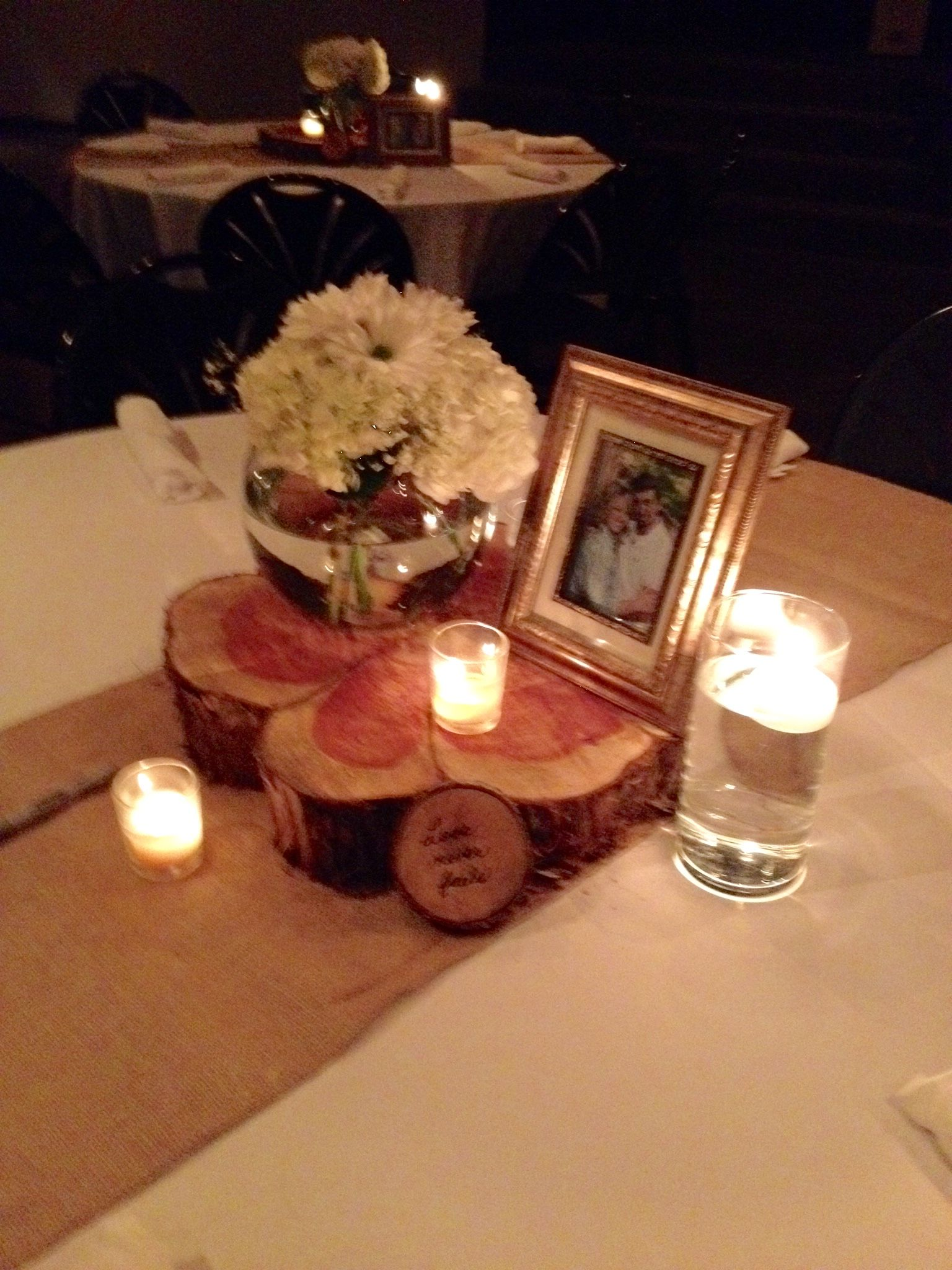 Rustic Table Centerpiece Cedar Wood Round Floating