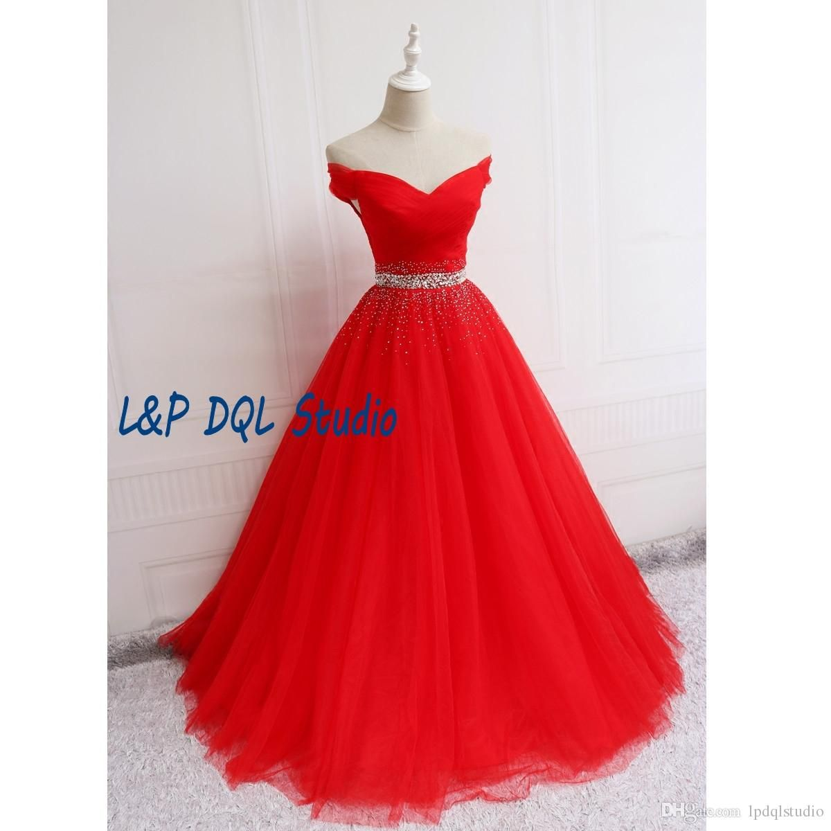Gorgeous red ball gown prom dresses off shoulder laceup back long