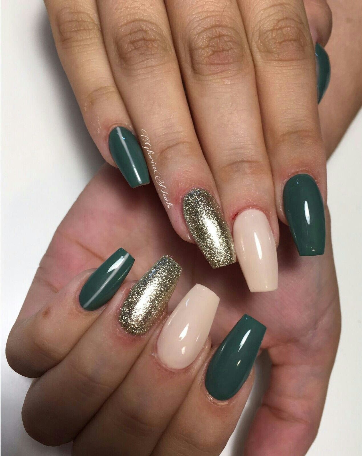 coffin nails army green nude