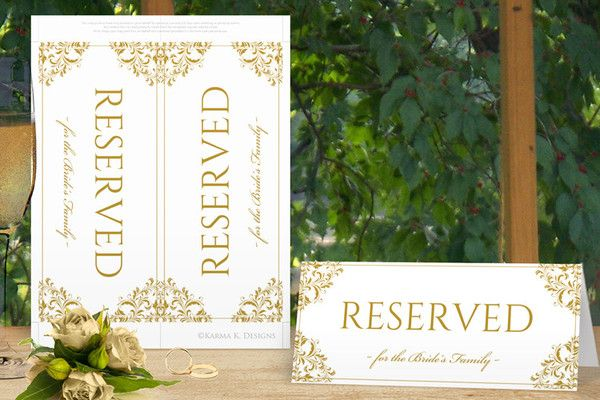 Vintage Wedding Reserved Signs Tent Nadine Gold Templett Printable Wedding Sign Reserved Signs Reserved Wedding Signs