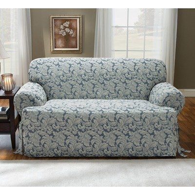 Sure Fit Scroll T Cushion Loveseat Slipcover Brown By Sure Fit