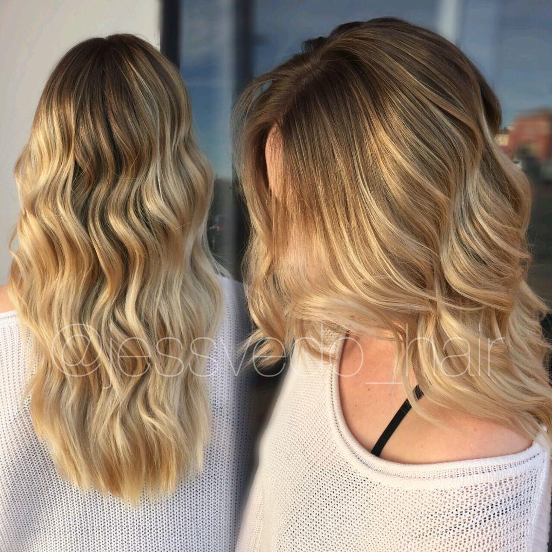 Warm Golden Blonde Balayage Ombre With Shadow Root Beachy Wave Style Formula Is On