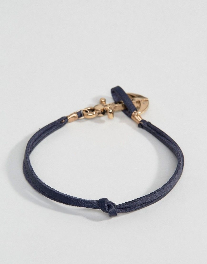 Icon brand leather anchor bracelet in navy navy anchor leather