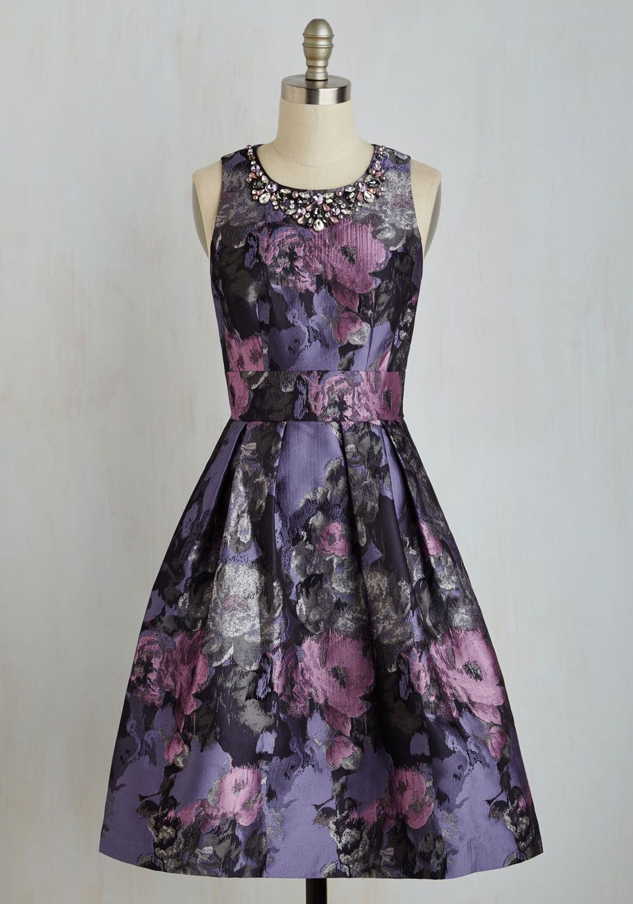Fleur majesty dress multi purple floral print rhinestones