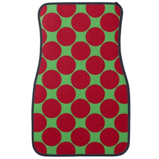Red and Green Dotted Car Mat