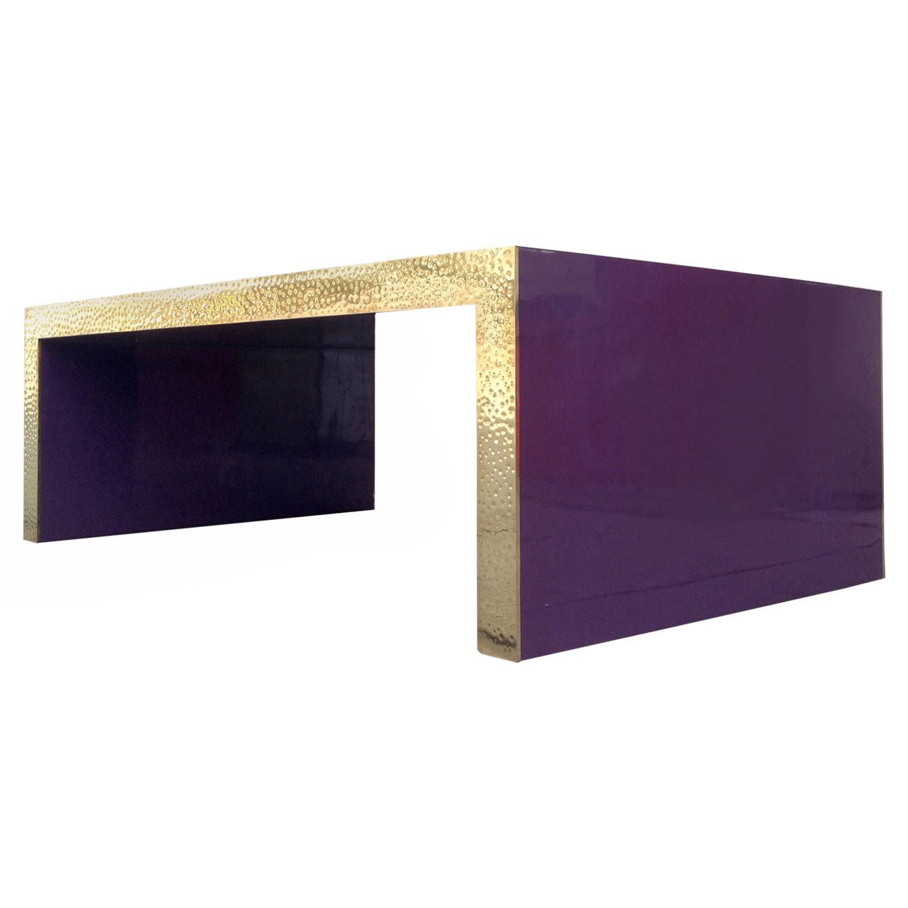 Glamorous Purple Lacquered Coffee Table with Hammered Brass Edge | From a unique collection of antique and modern coffee and cocktail tables at https://www.1stdibs.com/furniture/tables/coffee-tables-cocktail-tables/