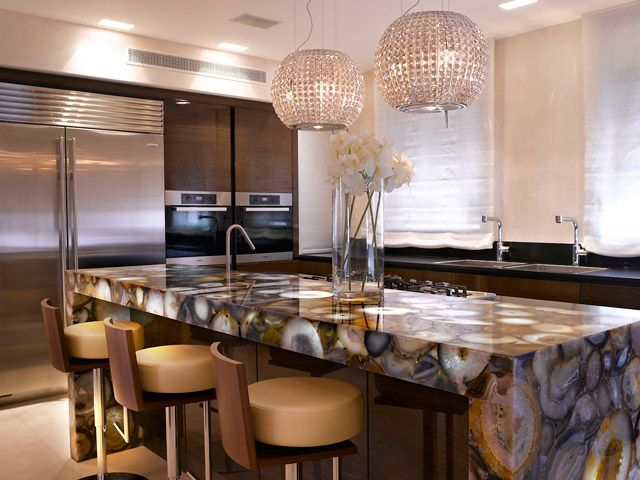 kitchen design natural agate semi precious stone slabs translucent creations - Stone Slab Kitchen Decor