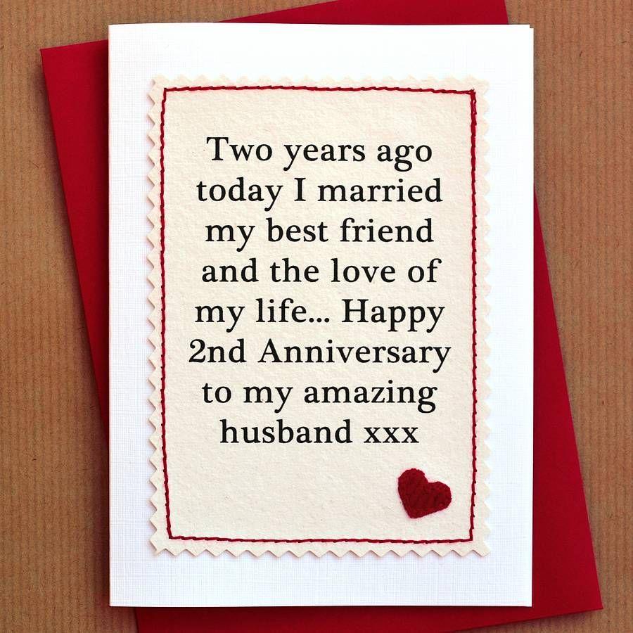 Second Year Wedding Anniversary Gift: Handmade Second Anniversary Card