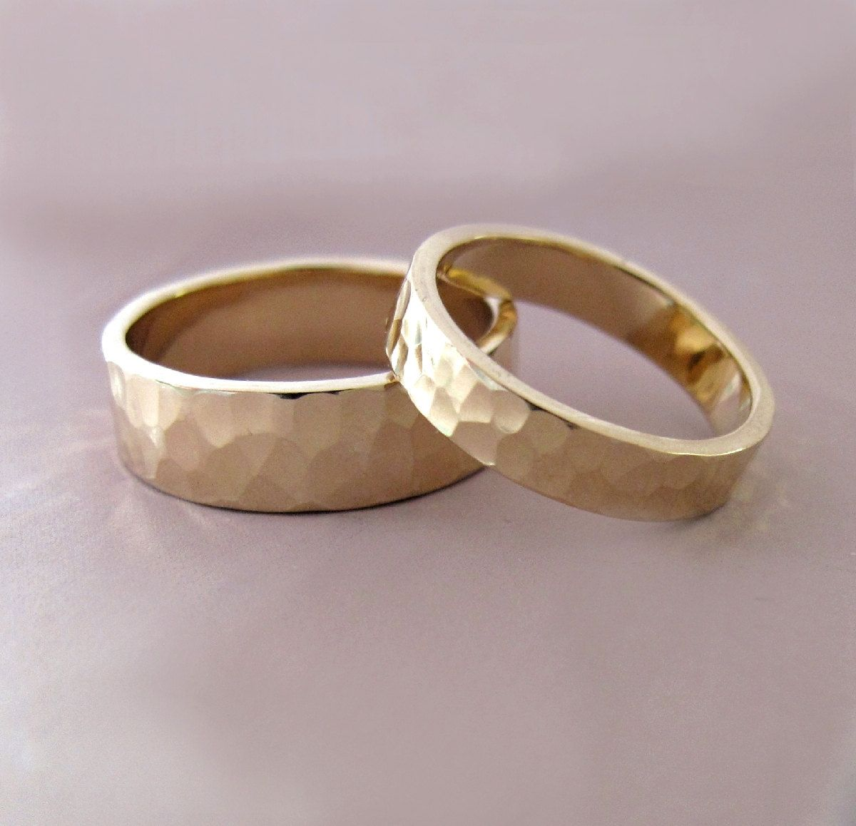 14k Gold Wedding Ring Set of Two Hand Hammered Recycled Gold 4