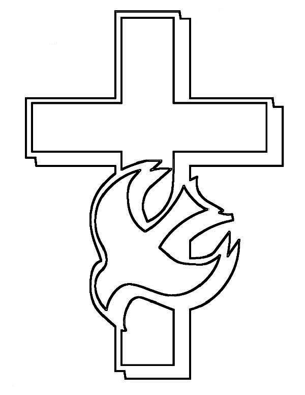 Cross And Holy Spirit Coloring Page Cross Coloring Page