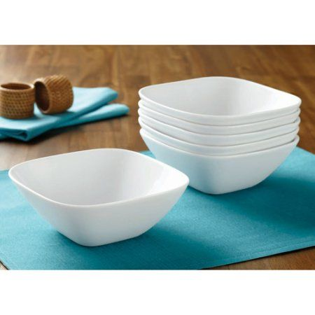 Better Homes And Gardens Porcelain Soft Square Bowls, White, Set Of 6