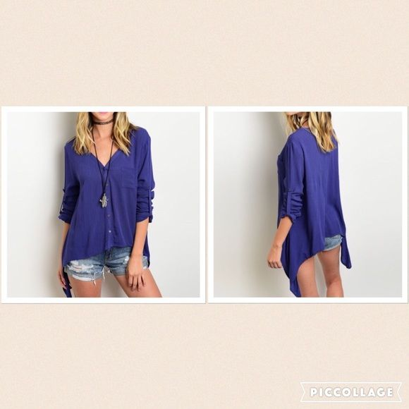 Top Beautiful Navy button down top. Sleeves can be rolled up and buttoned. High low sides. Adorable with shorts! Tops Button Down Shirts
