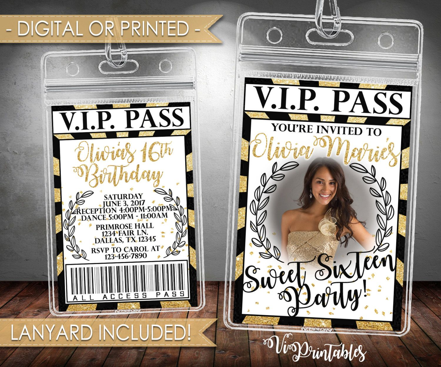 3dcc8b410ee VIP Black and Gold Birthday Invitation