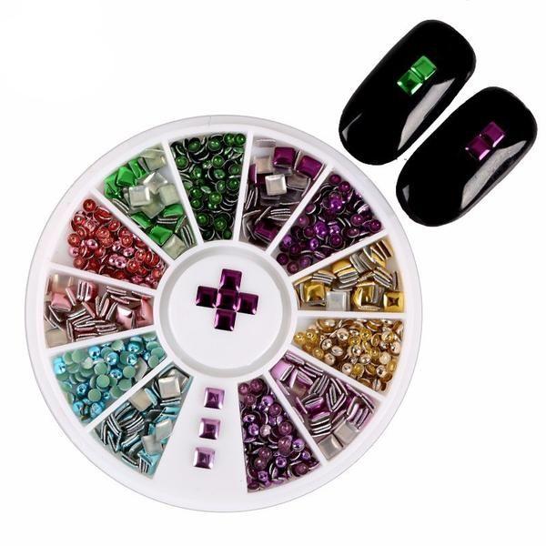 6 Color Metal Round Square Design Rivet 3d Nail Art Supplies Wheel