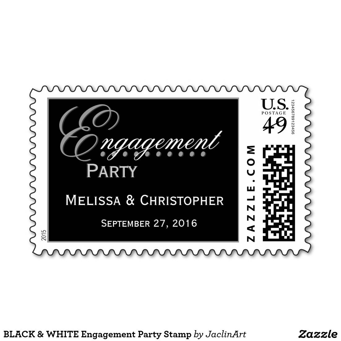 BLACK & WHITE Engagement Party Stamp   Zazzle com   STAMPS