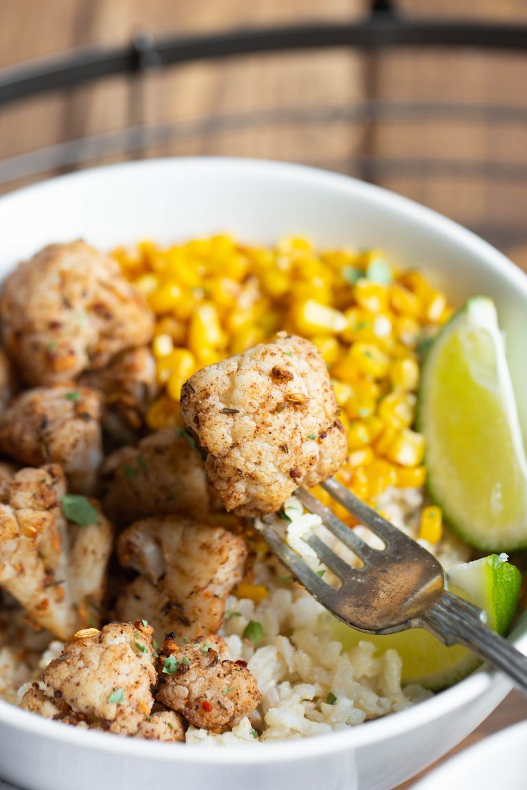 Roasted Jamaican Lime Cauliflower And Coconut Rice