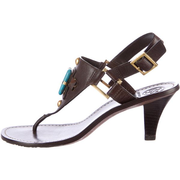 Tory Burch Embellished Leather Sandals ($195) ❤ liked on Polyvore featuring shoes, sandals, brown, real leather shoes, brown shoes, tory burch footwear, tory burch shoes and brown leather shoes