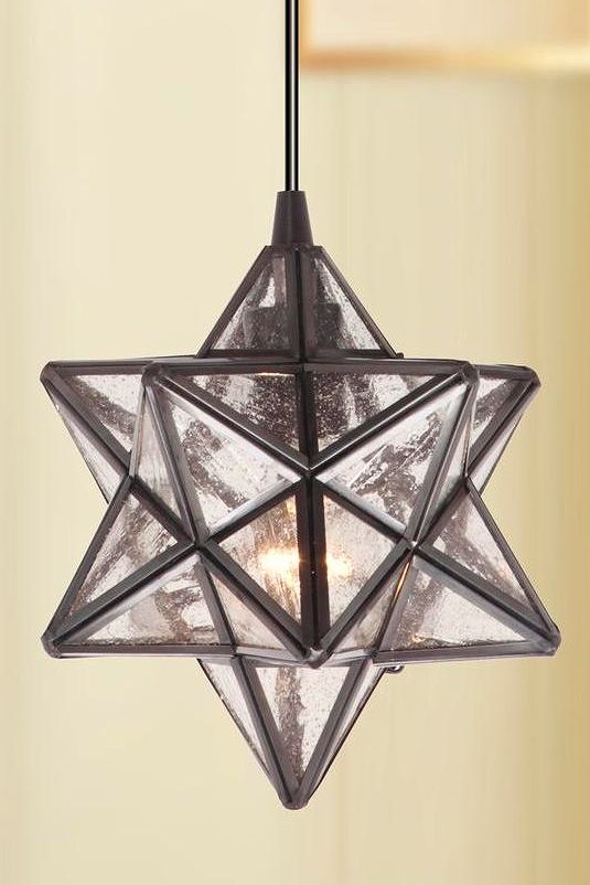Worth home products instant pendant series 1 light brushed bronze this kit converts a recessed light into a radiant moravian star pendant light in minutes aloadofball Image collections