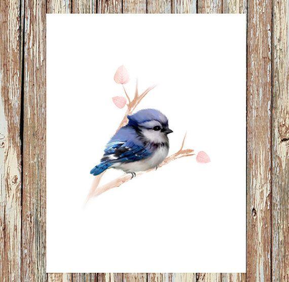 Blue jay painting, baby bird print, baby blue jay, baby animal prints, wildlife painting, home decor, nursery decor #babyanimals