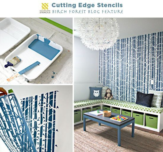 Best Stunning Birch Forest Stencil Feature Wall Tree Wallpaper Bedroom Birch Tree Wallpaper Tree 400 x 300
