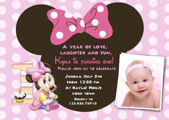 Baby Minnie Mouse 1st Birthday Custom Photo birthday Party – Custom 1st Birthday Invitations