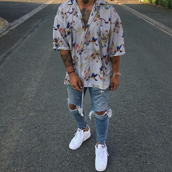 Mens Street Style Vintage Printing Loose Short Sleeve Shirt