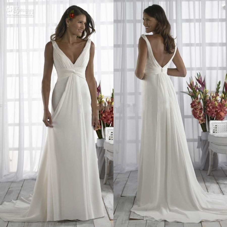 Simple Cheap Wedding Dresses Cheap Casual V-neck Plus Size